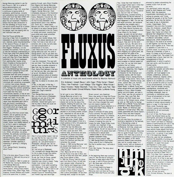 FLUXUS ANTHOLOGY A COLLECTION OF MUSIC...